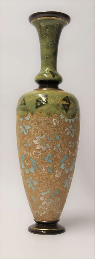 A Large Victorian Doulton Lambeth Hand Painted Vase.