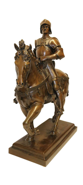 A Magnificent 19th C Grand Tour Bronze Study Of Bartolomeo Colleoni On Horseback By Verrocchio