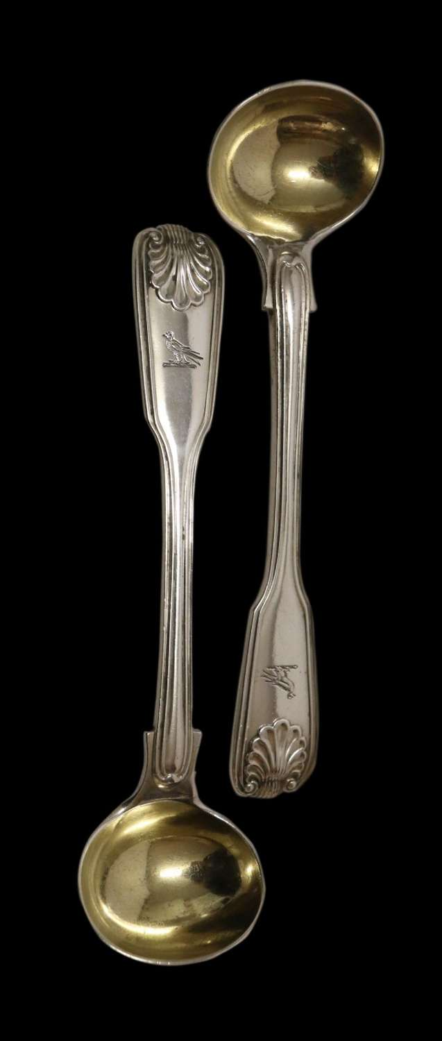 A Fine Pair Of Antique Early Victorian Silver Salt Spoons.