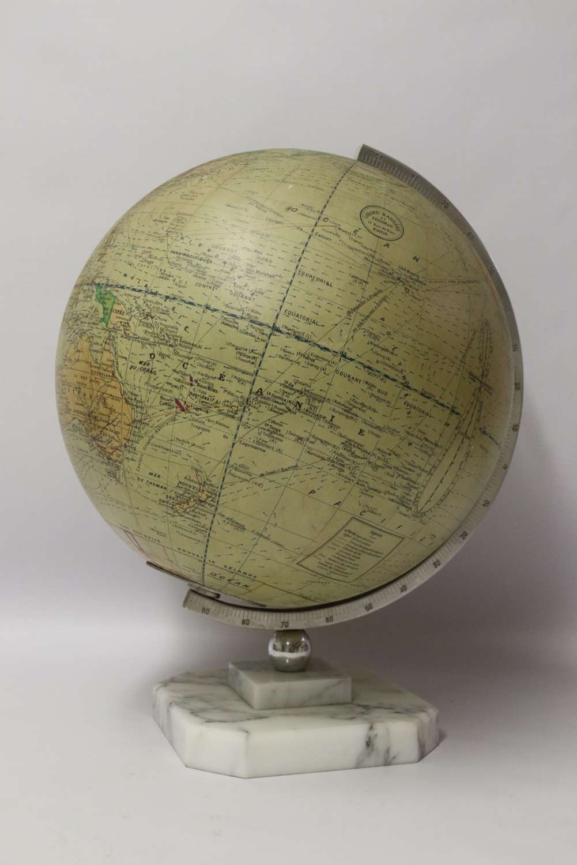 A 1930's Electrically Illuminated Large Desk Globe Of The World