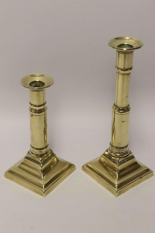 A Pair Of Rare English Georgian Telescopic Brass Candlesticks