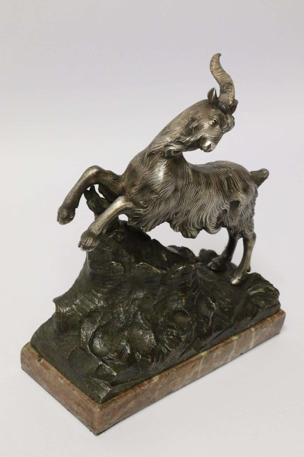 A Mid 19th Century Silvered Bronze Study Of  A Goat.