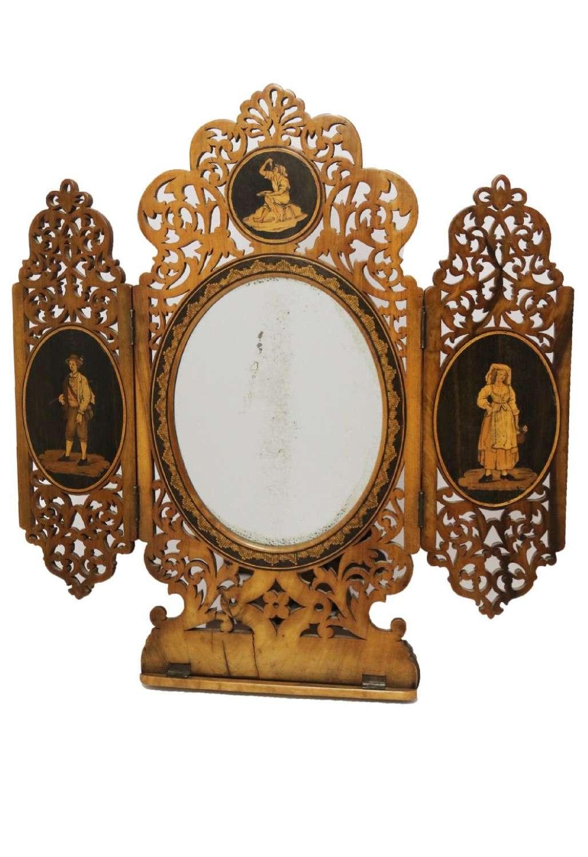 A Fine Grand Tour Italian Sorrento Ware Marquetry  Adjustable Mirror