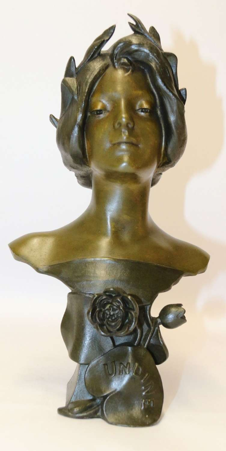 An Art Nouveau Spelter Bust Of A Beautiful Young Woman Entitled Undine