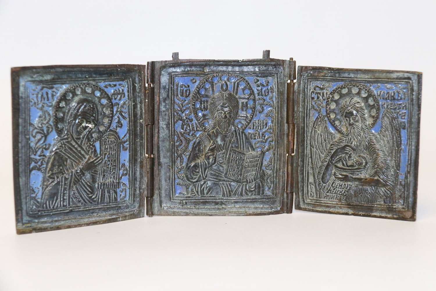 A 19th Century Russian Folding Bronze And Enamel Icon