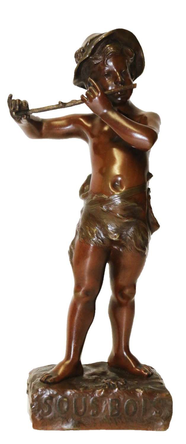 A 19th C Bronze Figure Of A Boy Playing A Flute, By Marcel Debut