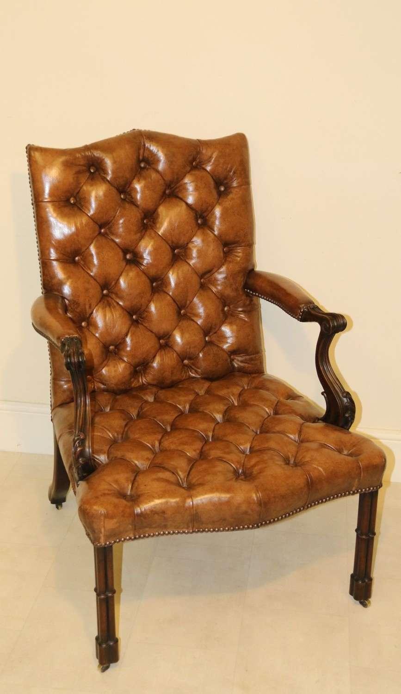 A Superb 19th C Chippendale Style Gainsborough Arm Chair.