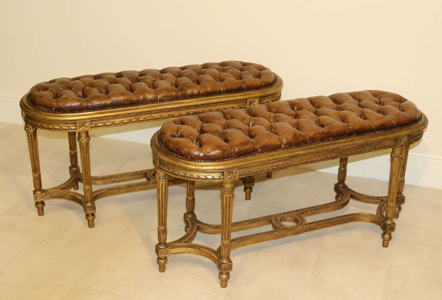 Pair Of 19 C French Carved Giltwood Window Seats Or Stools