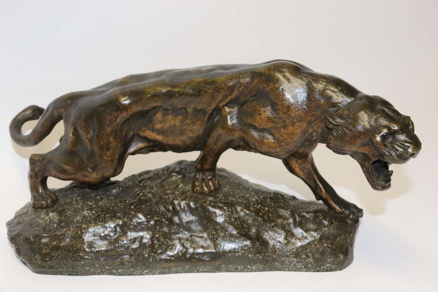 Early 20th Century Bronze Panther By T Cartier