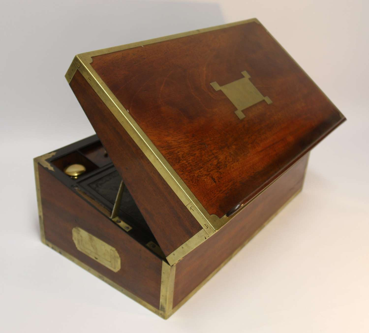 English Early 19th C Brass Mounted Campaign Writing Box