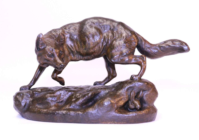 A Fine Bronze Study Of A Fox By C Masson
