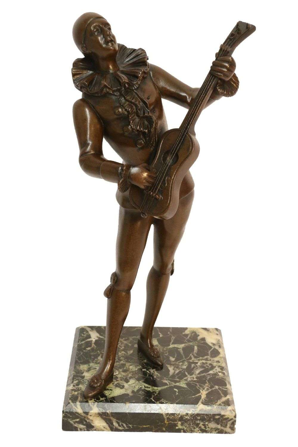 Bronze Study Of A Singing Pierrot Signed Raphael