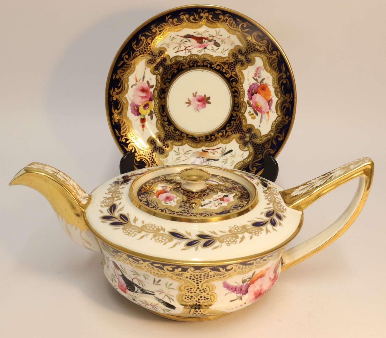 A Superb Coalport Georgian Tea Pot And Stand