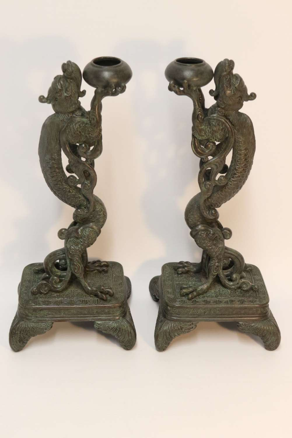 A Pair Of Japanese Bronze Incense Burners