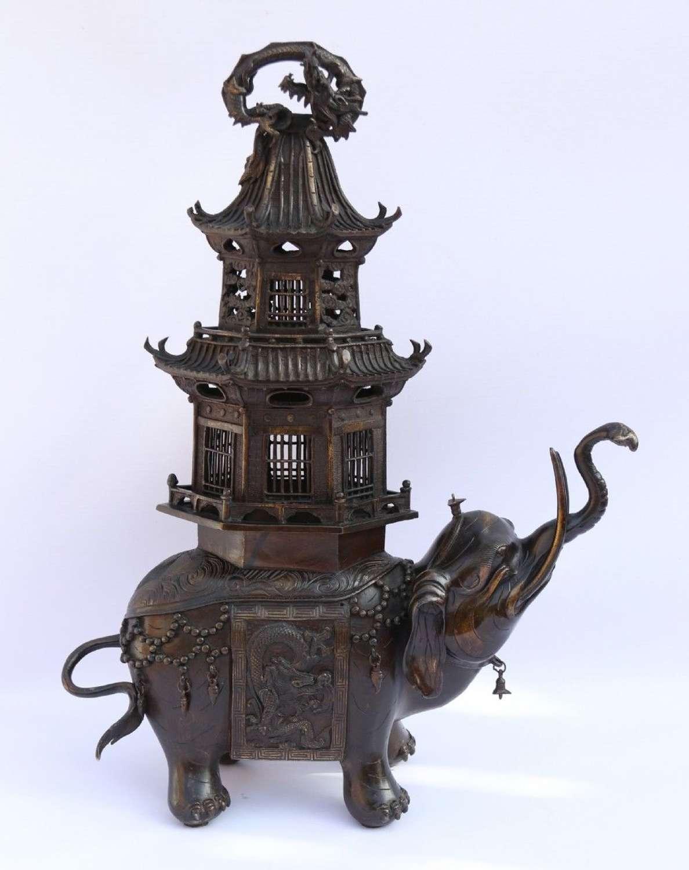A Japanese Meiji Period Bronze Elephant