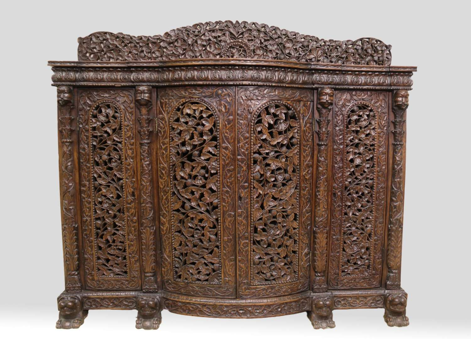 19th Century Indian Carved Padauk Wood Side Cabinet