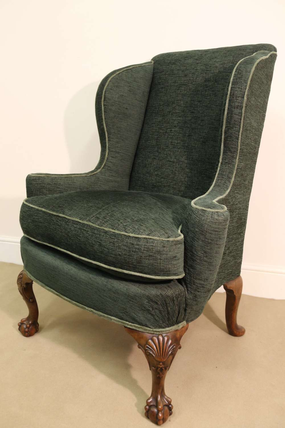 A Superb George I Style Winged Arm Chair