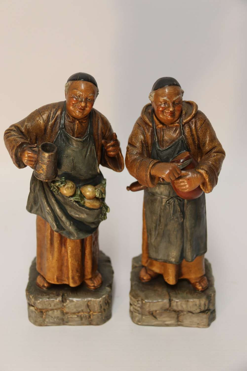 A Pair Of German Pottery Monks
