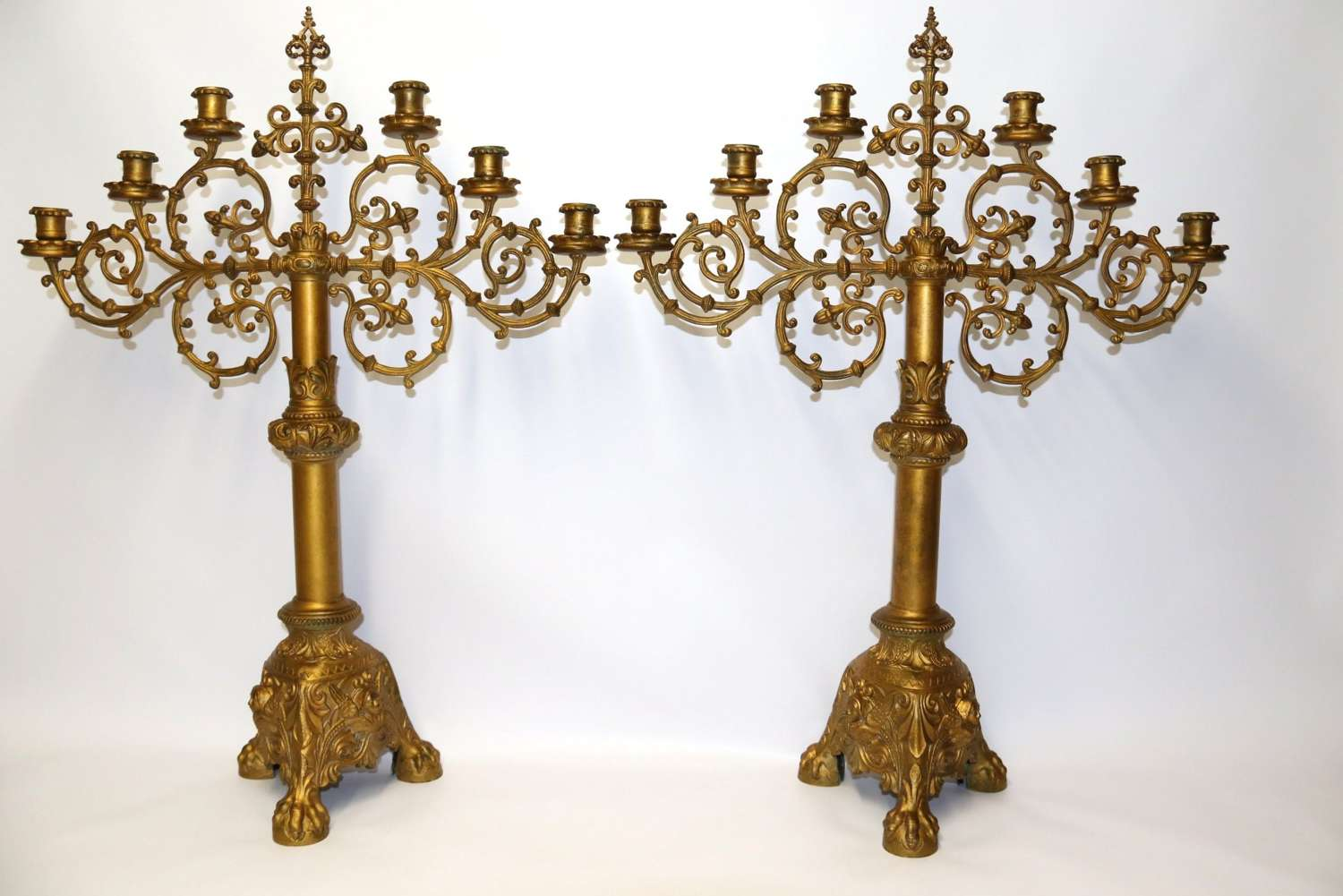 A Large Pair Of Gothic  Gilt Brass Candelabra