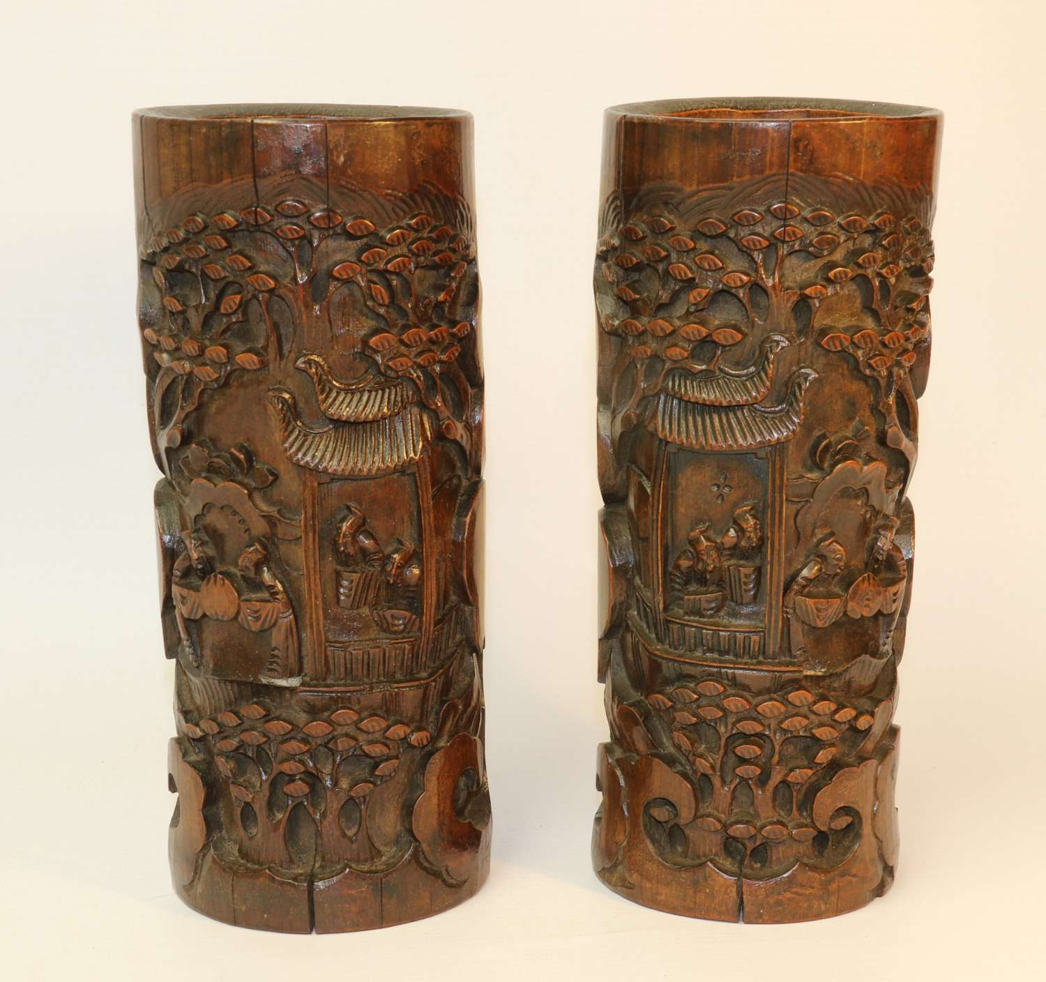 A Pair Of Chinese Brush Pots
