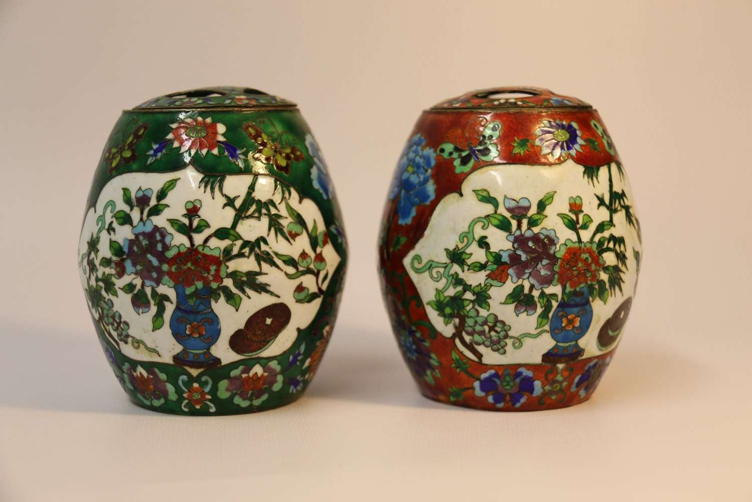 A Pair Of Japanese Cloisonné Jars With Covers
