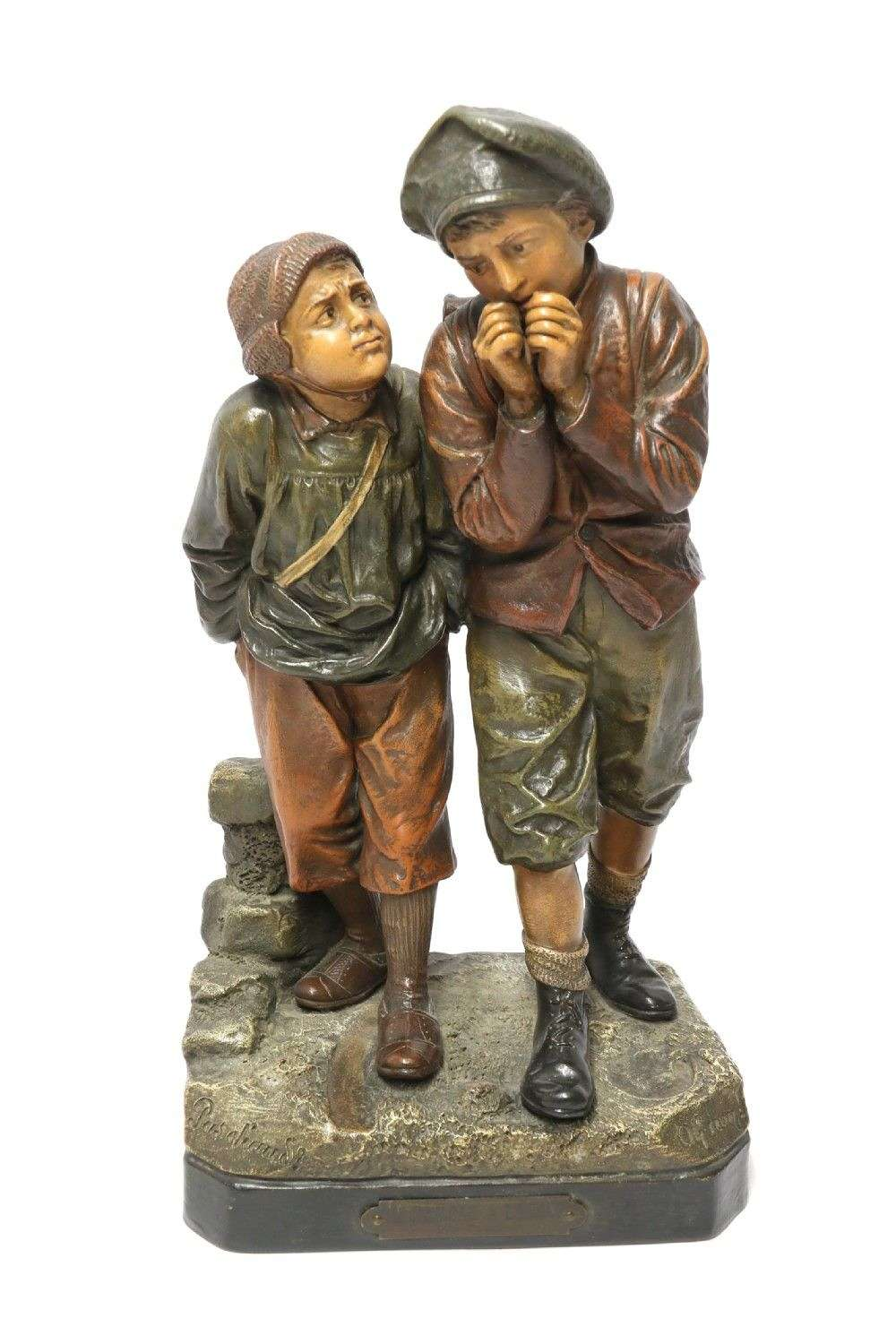 A French Cold Painted Terracotta Group