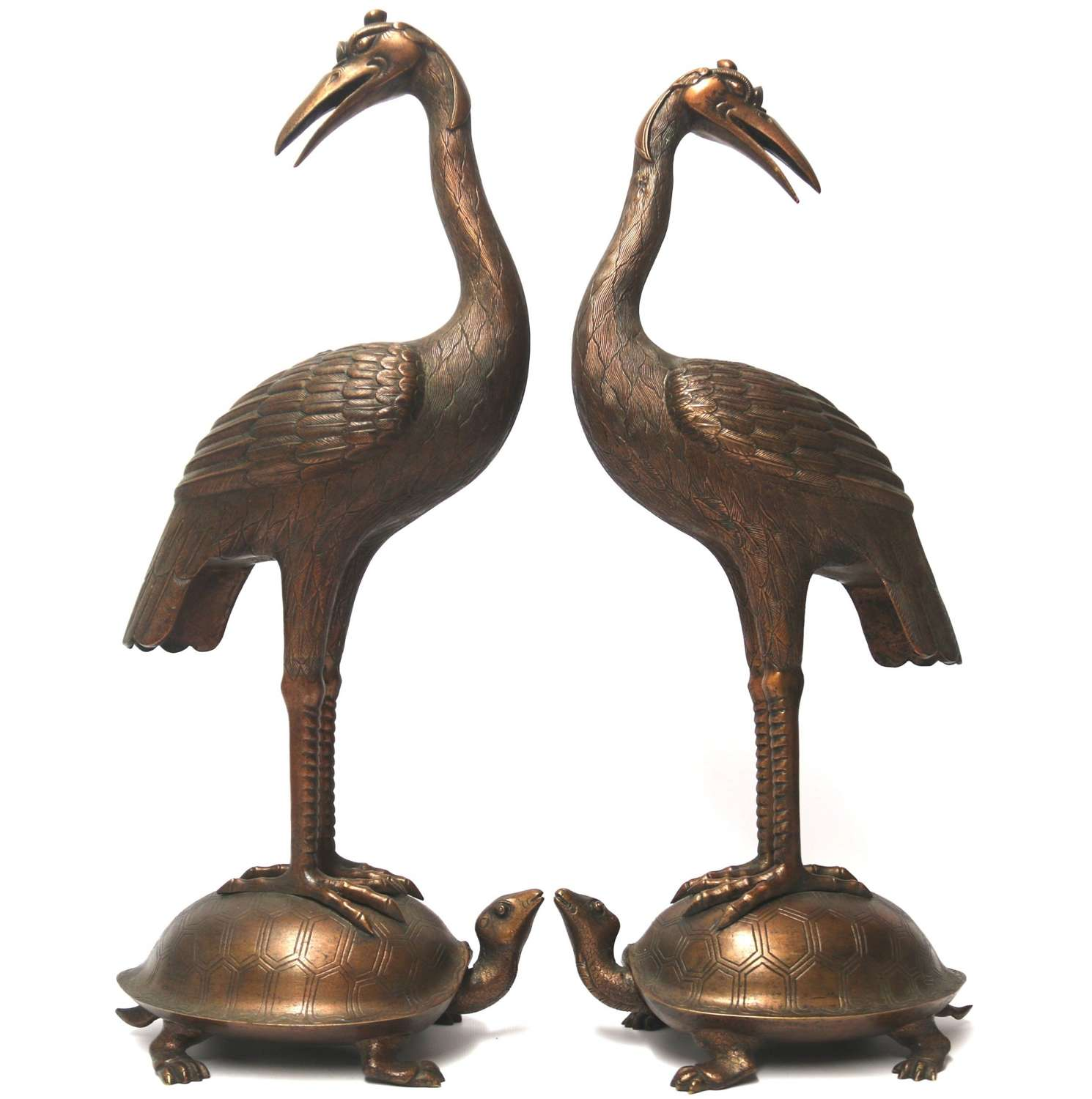 A Large Pair Of Japanese Bronze Storks