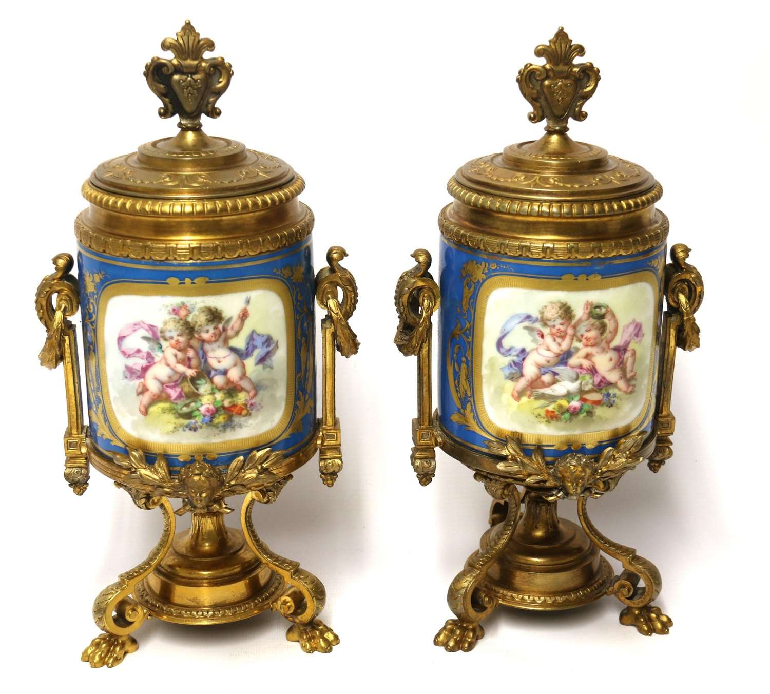 A Fine 19th Century Pair Of French Sevres Style Porcelain And Ormolu Vases.