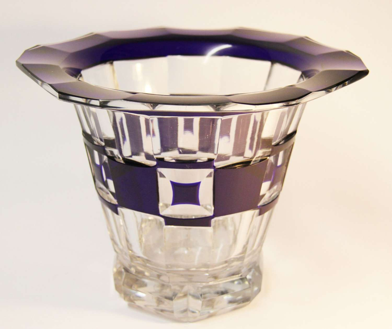 Art Deco Blue Overlaid Vase