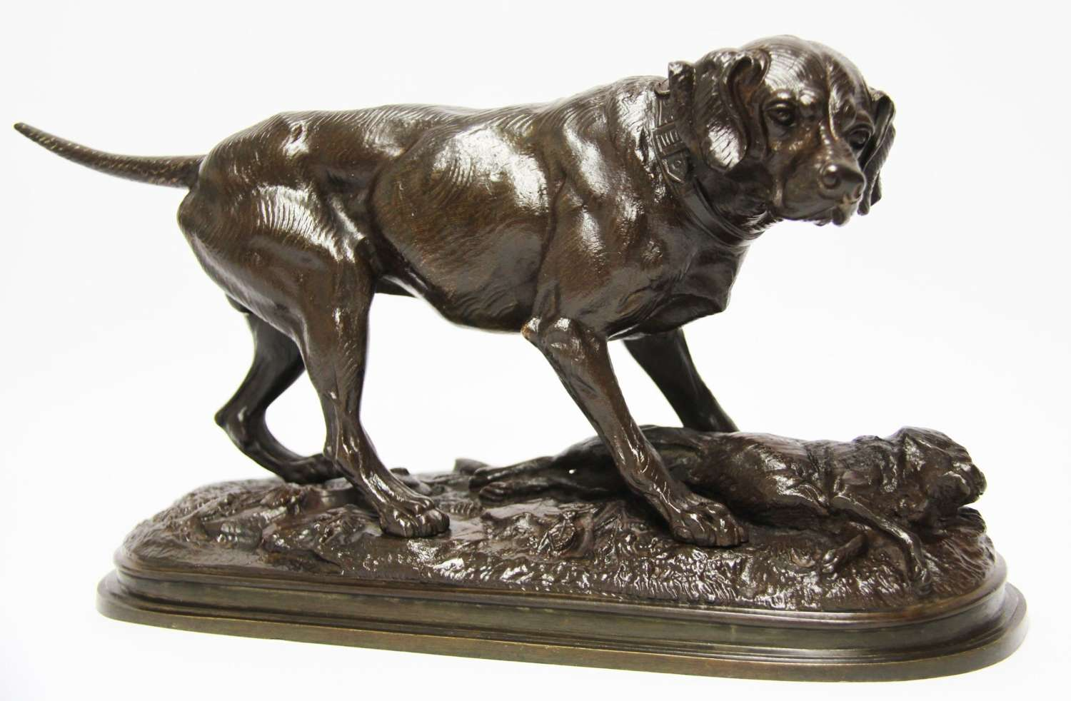 A French Bronze Of A Hunting Dog And Hare