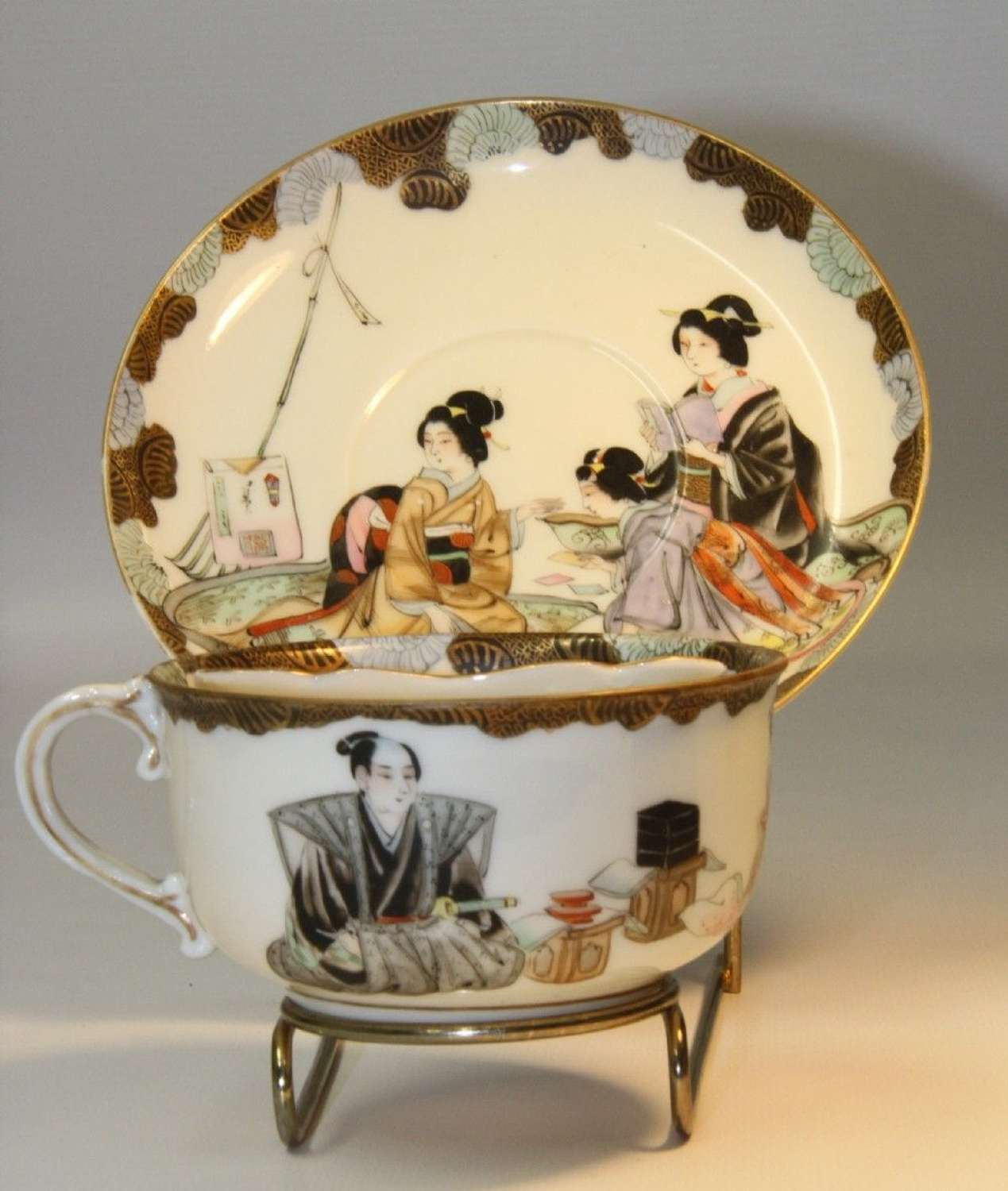 A Rare Japanese Moustache Cup And Saucer