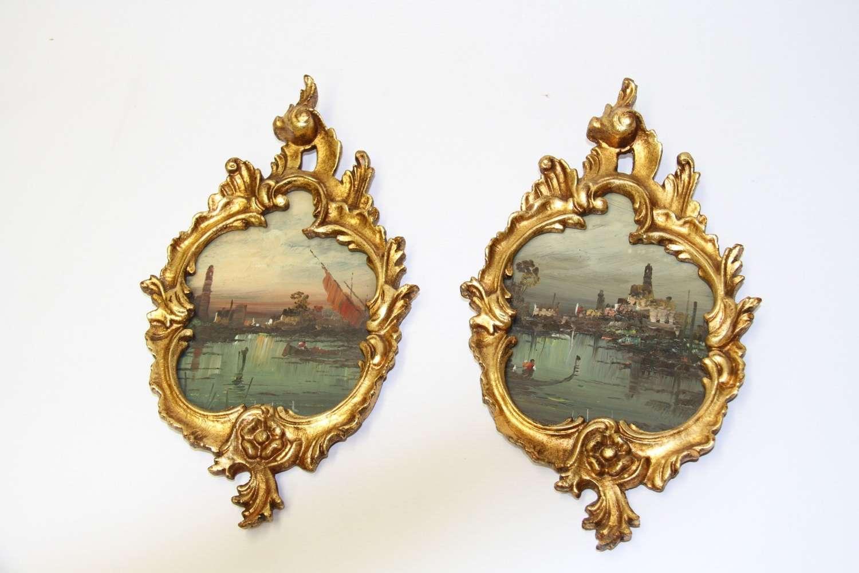 A Decorative Pair Of Venetian Oil Paintings