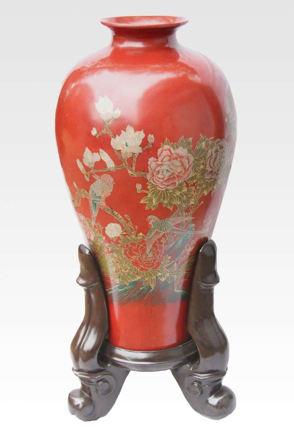 A Massive Chinese Red Lacquered Vase And Stand  Over A Meter Tall