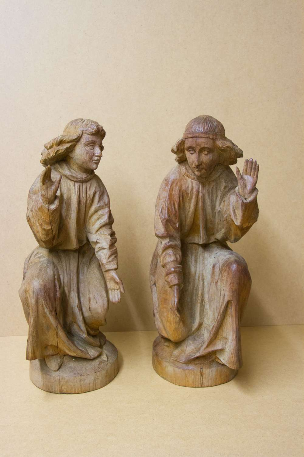 A Rare Pair Of Early Carved Oak Religious Figures Of Saints