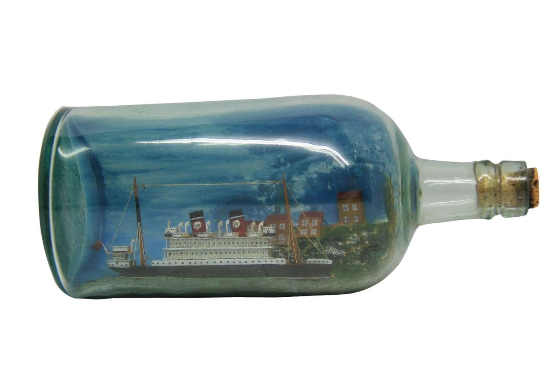 A Detailed Passenger Ship In Bottle