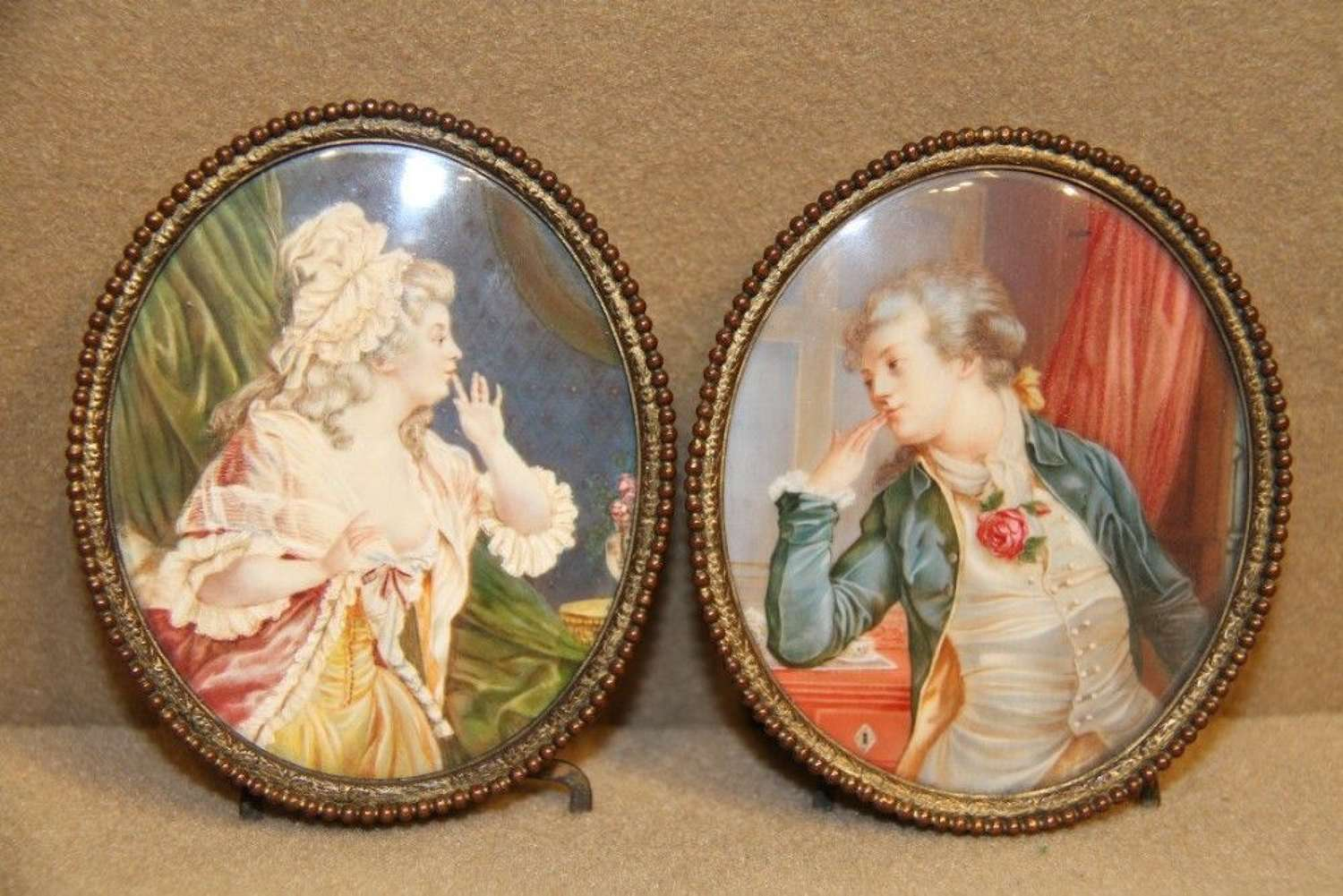 Pair Of Miniatures Painted On IVory
