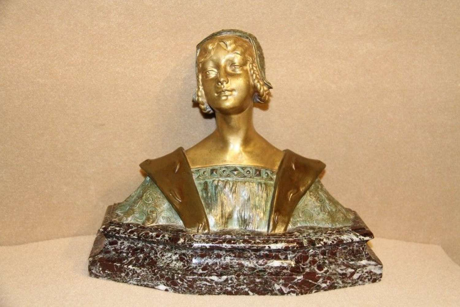 A Bronze Study Of A Medieval Maiden