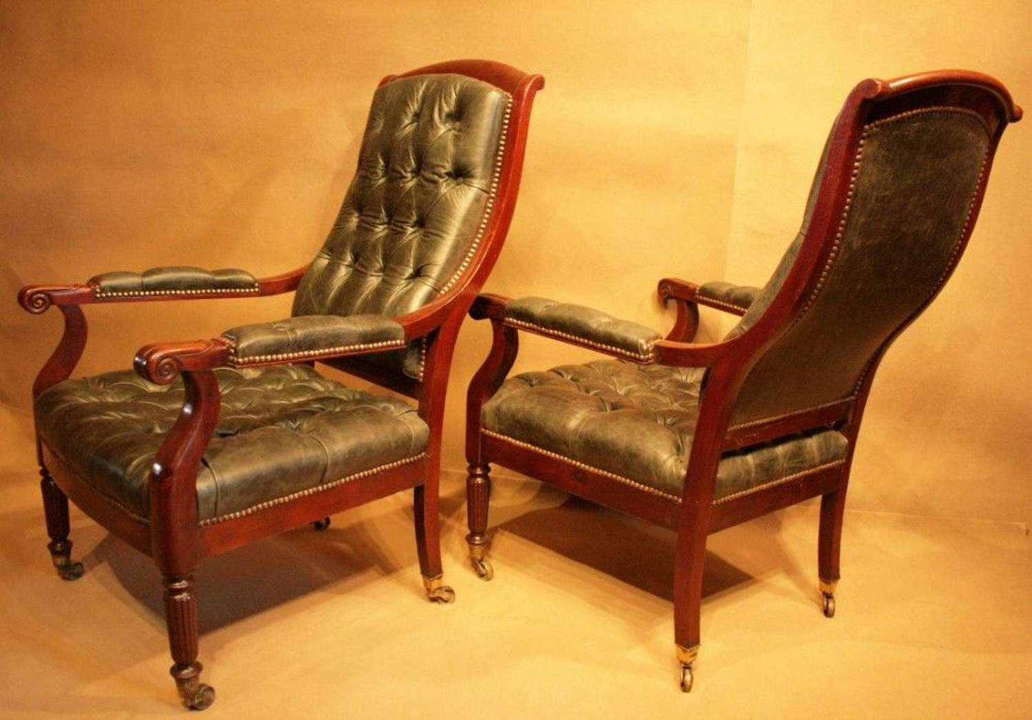 A Fine Pair Of  Regency Library Chairs