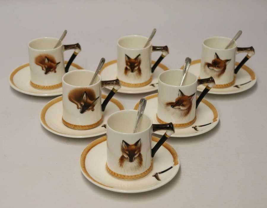 A set of six English Fox Hunting Royal Doulton Coffee Cups and Saucers
