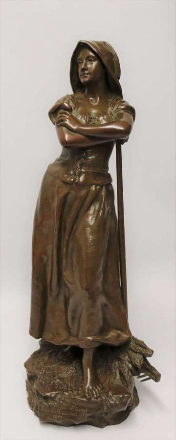 19th century bronze sculpture of a young female gathering hey
