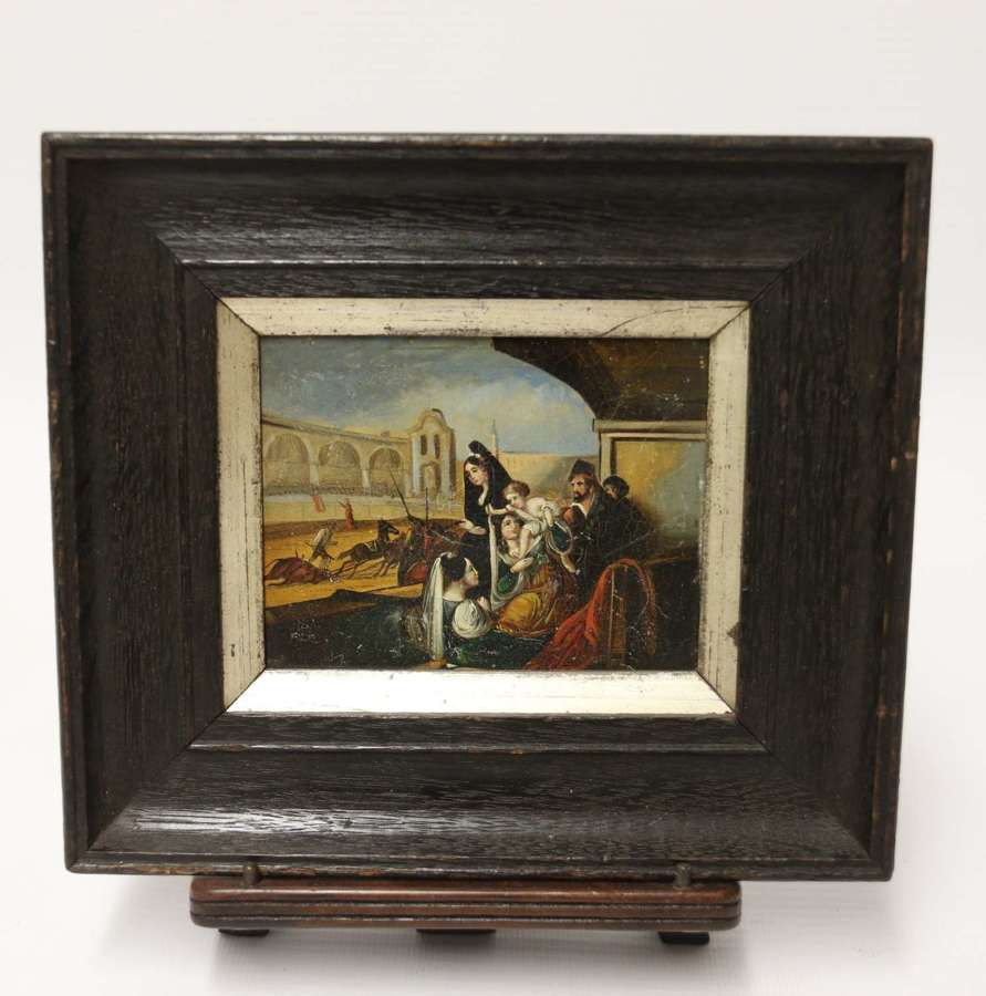 An interesting 19th C miniature hand painted classical picture