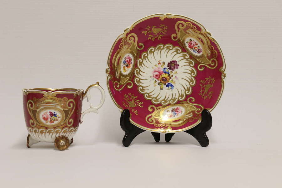 19th century cabinet cup and saucer by H and R Daniel Factory, C 1835