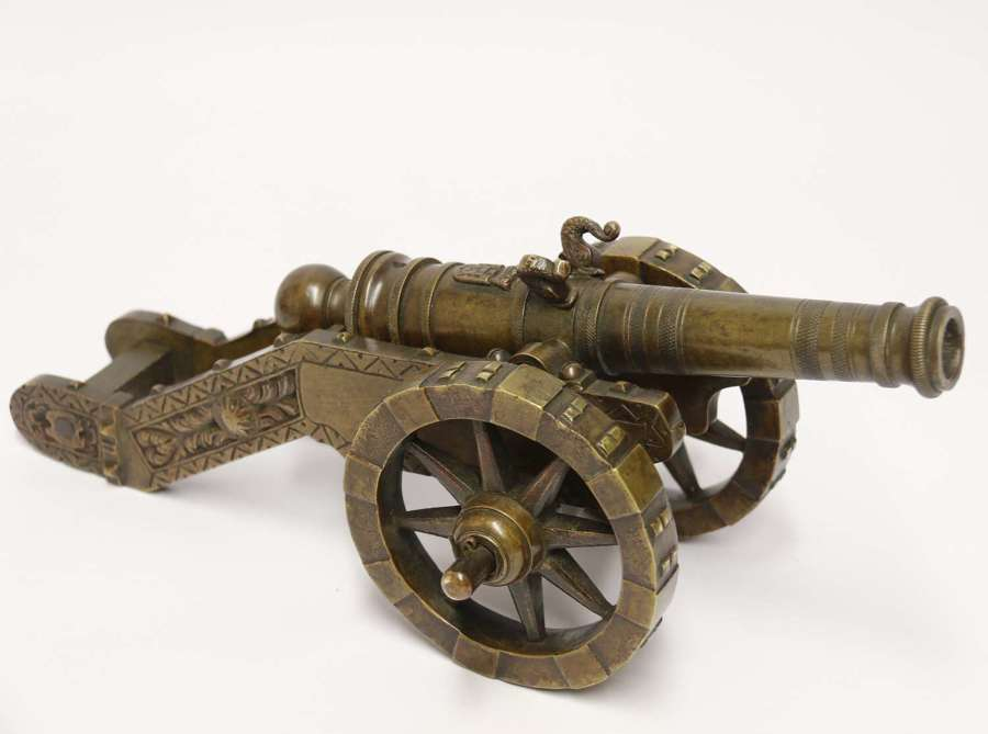 A superb 19th C French bronze model canon.