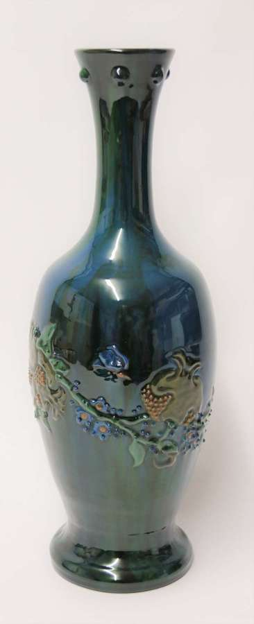Sir Edmund Harry Elton Sunflower factory pottery vase, Circa 1890