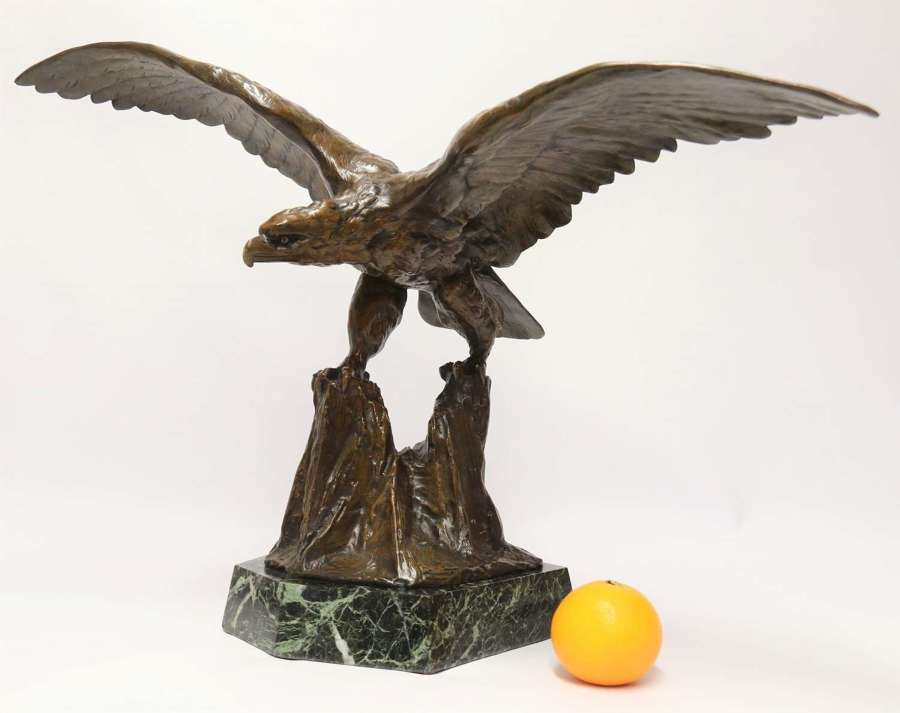 A large and impressive bronze sculpture of a Eagle by Claude Mirval