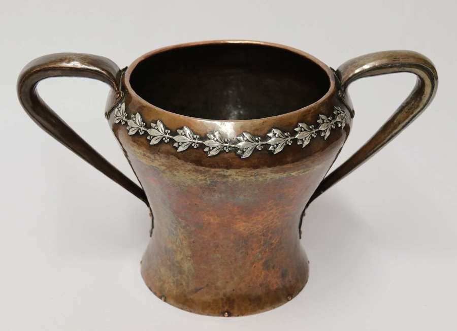 A fine copper and silver mounted Arts and Crafts vase by A E Jones