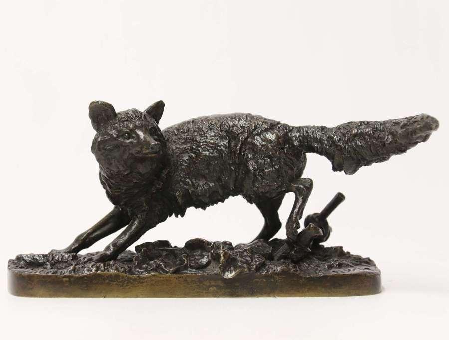 A 19th century bronze study of a vixen  fox by P J Mene